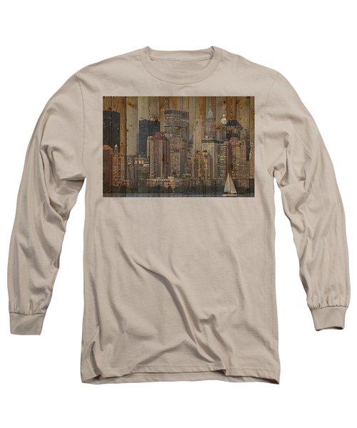 Skyline Of New York, Usa On Wood Long Sleeve T-Shirt