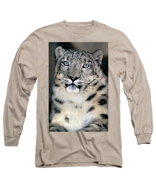 Snow Leopard Portrait Endangered Species Wildlife Rescue Long Sleeve T-Shirt