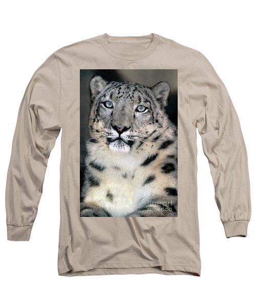 Snow Leopard Portrait Endangered Species Wildlife Rescue Long Sleeve T-Shirt