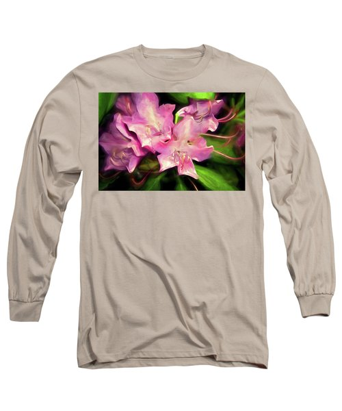 Long Sleeve T-Shirt featuring the mixed media Soft Rhodie Blooms 6 by Lynda Lehmann