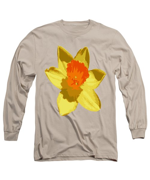Spring Daffodil Isolated On Hot Pink Long Sleeve T-Shirt