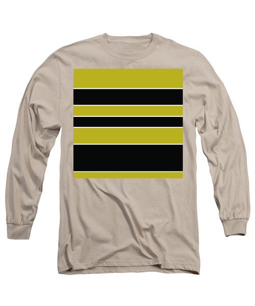 Stacked - Gold, Black And White Long Sleeve T-Shirt