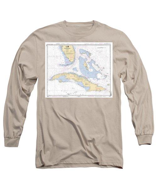 Straits Of Florida Nautical Chart Long Sleeve T-Shirt