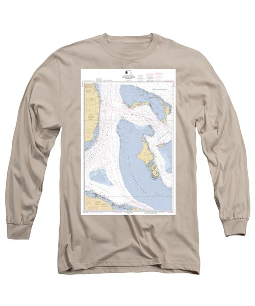 Straits Of Florids, Eastern Part Noaa Chart 4149 Edited. Long Sleeve T-Shirt