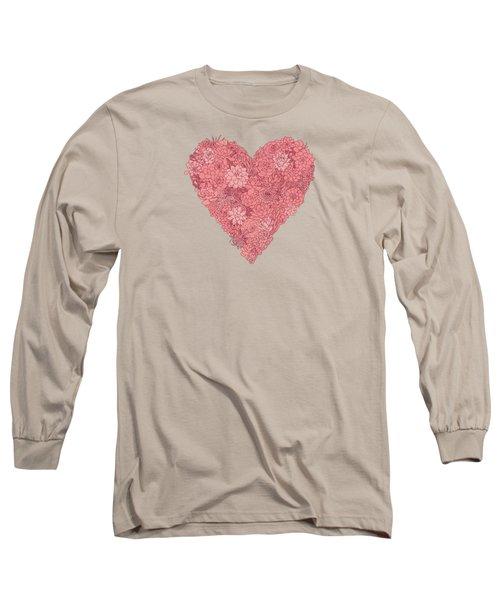 Pink Succulent Heart Dark Background Long Sleeve T-Shirt