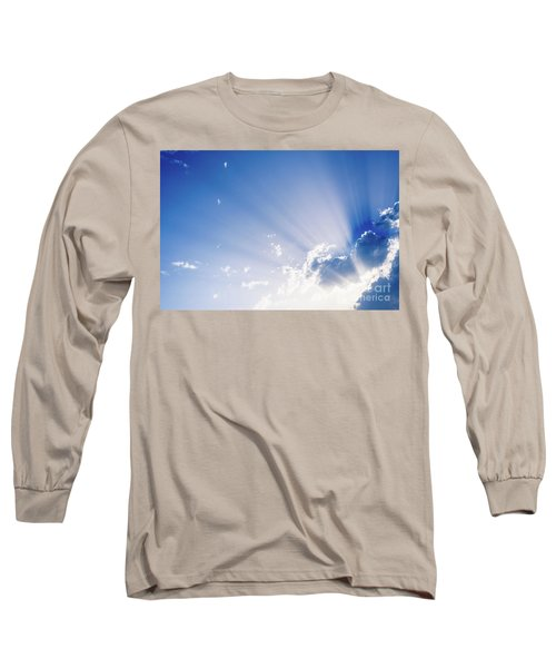 Sunbeams Rising From A Large Cloud In Intense Blue Sky On A Summer Afternoon Long Sleeve T-Shirt