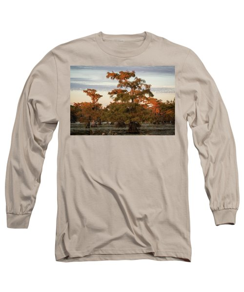 Sunset In The Swamps Of Caddo Lake, Texas Long Sleeve T-Shirt