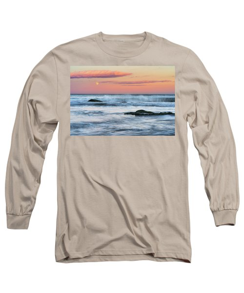 Super Moon And Sunset At Sozopol Town Beach Long Sleeve T-Shirt