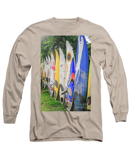 Surf Board Fence Maui Hawaii Vert Long Sleeve T-Shirt