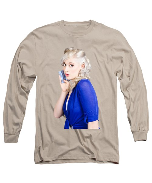 Surprised Pin Up Girl With Wash Cloth Long Sleeve T-Shirt