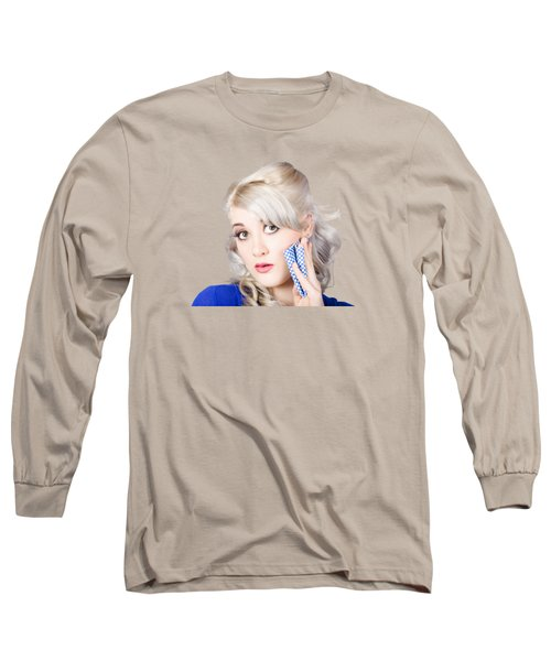 Surprised Retro Pinup Woman Holding Cleaning Rag  Long Sleeve T-Shirt