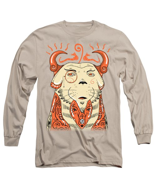 Long Sleeve T-Shirt featuring the drawing Surreal Cat by Sotuland Art