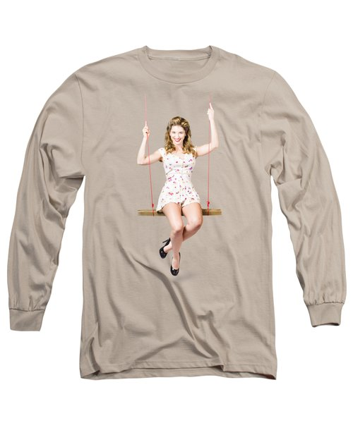 Swing Pinup Girl With Beauty Make-up And Hairstyle Long Sleeve T-Shirt