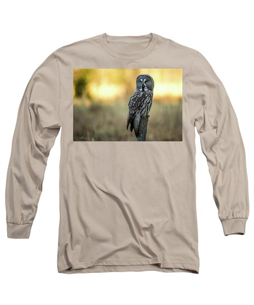 The Great Gray Owl In The Morning Long Sleeve T-Shirt