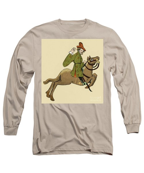 The Merchant On Horseback From The Canterbury Tales Long Sleeve T-Shirt