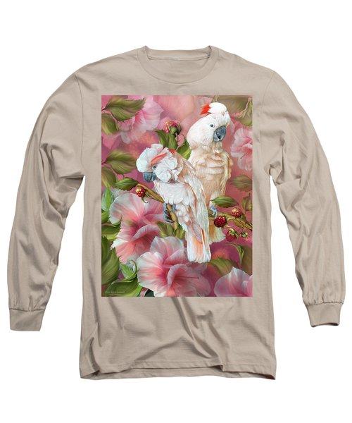 Long Sleeve T-Shirt featuring the mixed media Tropic Spirits - Cockatoos by Carol Cavalaris