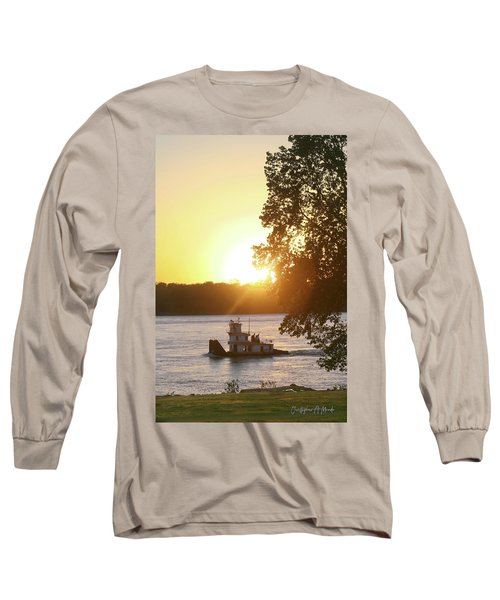 Tugboat On Mississippi River Long Sleeve T-Shirt