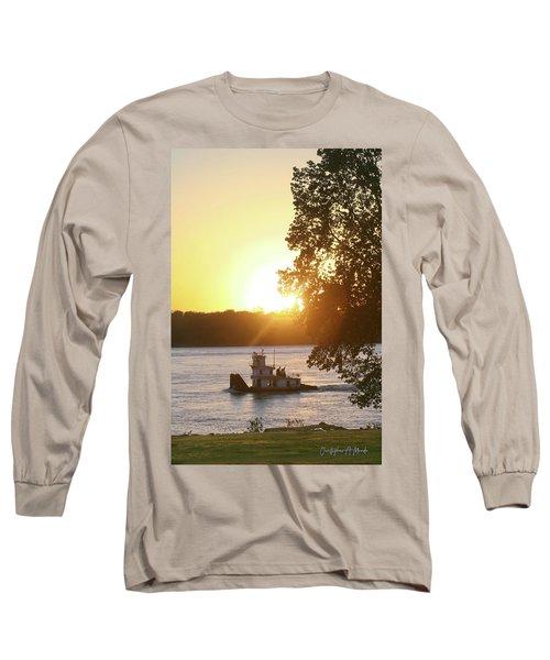 Tugboat On Mississippi River Long Sleeve T-Shirt