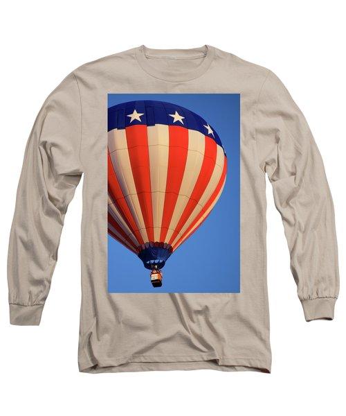 Usa Patriotic Hot Air Balloon Long Sleeve T-Shirt