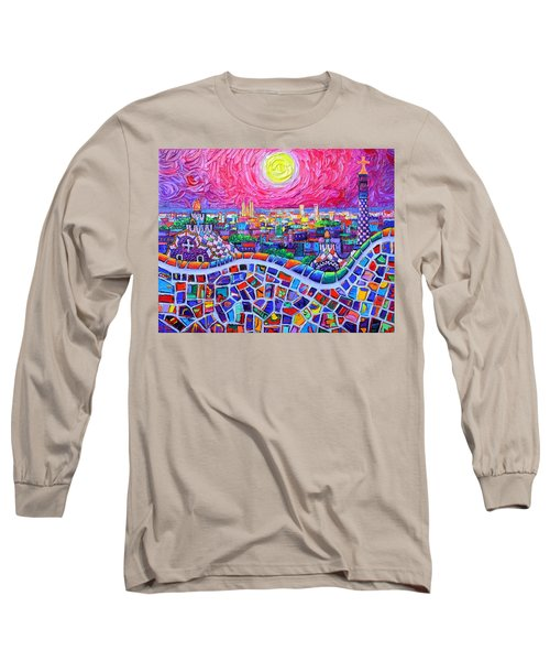 Vibrant Barcelona Night View From Park Guell Modern Impressionism Knife Painting Ana Maria Edulescu Long Sleeve T-Shirt