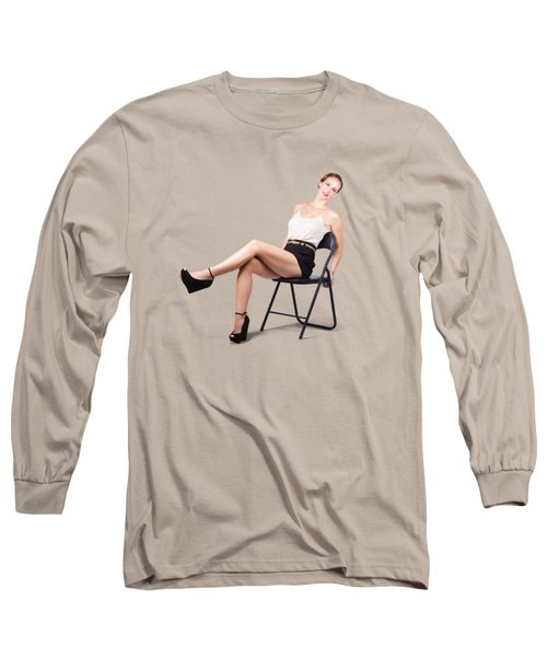Vintage Woman Relaxing On Chair Long Sleeve T-Shirt