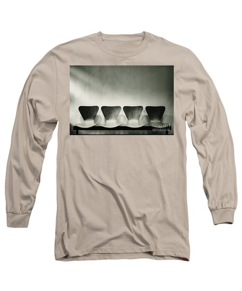 Waiting Room With Empty Wooden Chairs, Concept Of Waiting And Passage Of Time, Black And White Image, Free Space For Text. Long Sleeve T-Shirt