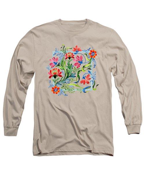 Watercolor Garden Folk Floral In Vintage Style Long Sleeve T-Shirt