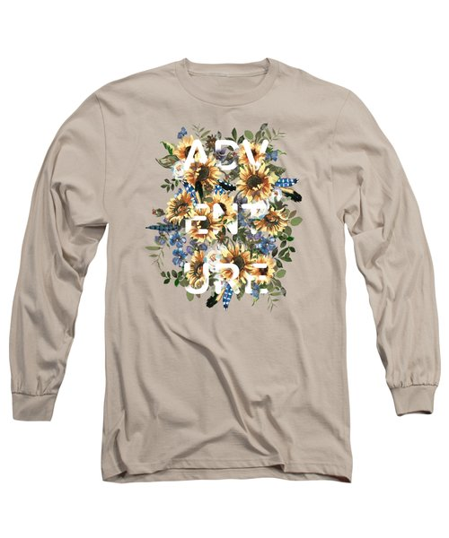 Watercolour Sunflowers Adventure Typography Long Sleeve T-Shirt