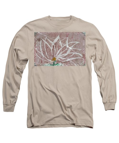 White Abstract Floral On Silverpastel Pink Long Sleeve T-Shirt