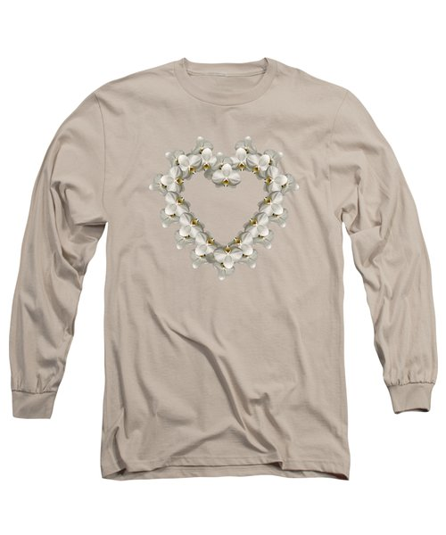 White Orchid Floral Heart Love And Romance Long Sleeve T-Shirt