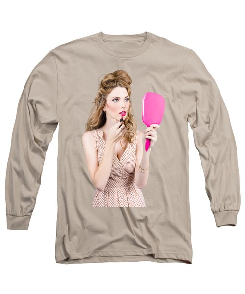 Woman Applying Lip Makeup With Cosmetics Mirror Long Sleeve T-Shirt