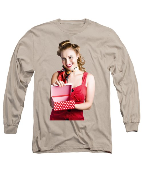 Woman Holding Gift Box Long Sleeve T-Shirt