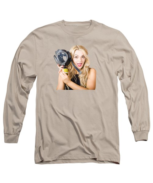 Woman In Fear Holding Gas Mask On White Background Long Sleeve T-Shirt
