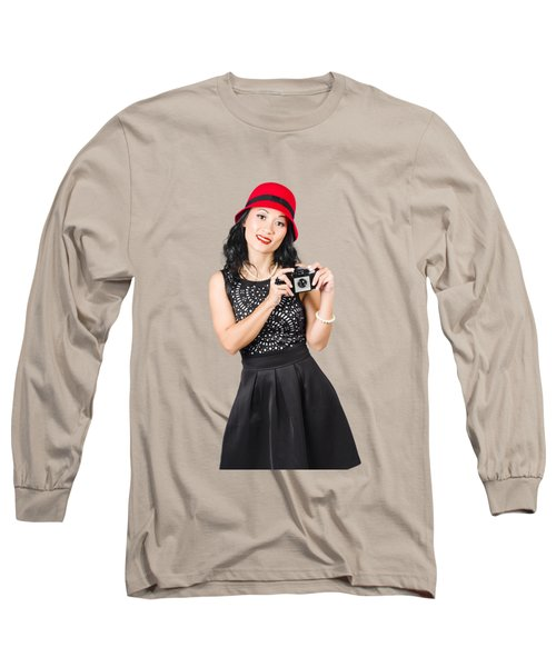 Woman With Old Camera Taking Photo Long Sleeve T-Shirt