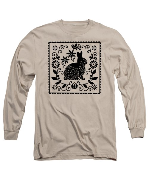 Woodland Folk Black And White Bunny Long Sleeve T-Shirt