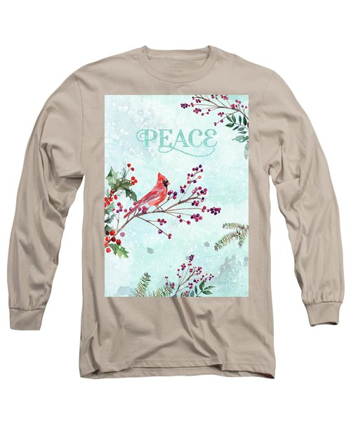 Woodland Holiday Peace Art Long Sleeve T-Shirt