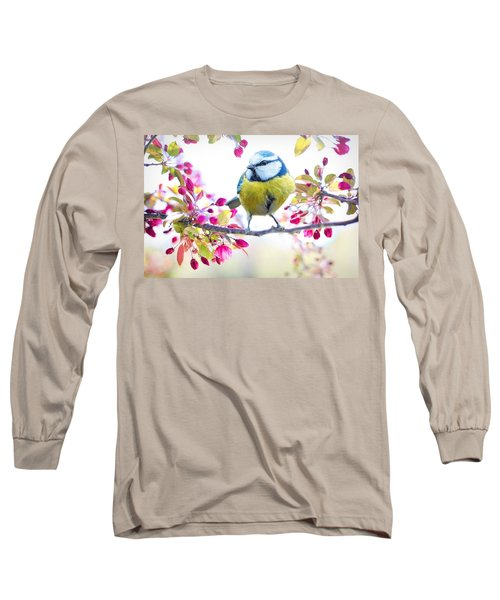 Yellow Blue Bird With Flowers Long Sleeve T-Shirt