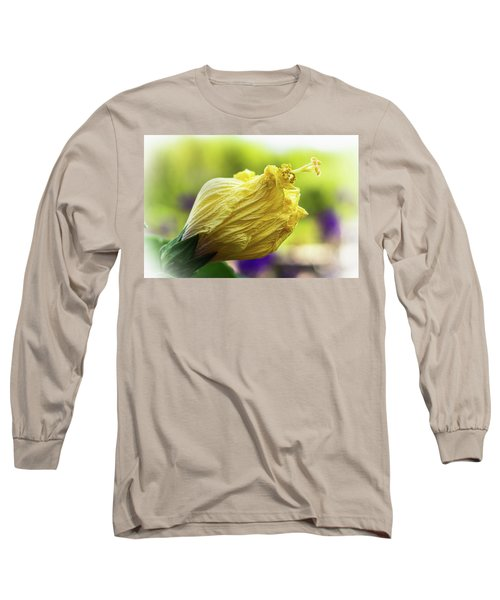 Yellow Mature Hibiscus  Long Sleeve T-Shirt