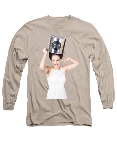 Young Pin Up Lady Reporting For Kitchen Duties Long Sleeve T-Shirt