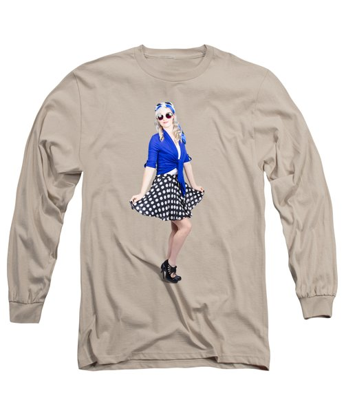 Young Stylish Pinup Woman Posing For Photo Long Sleeve T-Shirt