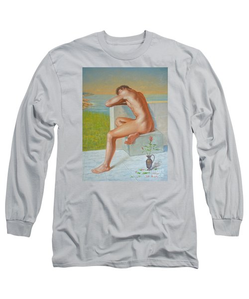 Original Classic Oil Painting Man Body Art  Male Nude And Vase #16-2-4-09 Long Sleeve T-Shirt by Hongtao     Huang