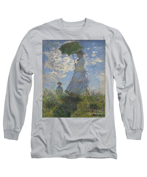Woman With A Parasol Madame Monet And Her Son Long Sleeve T-Shirt