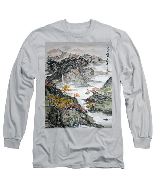 Long Sleeve T-Shirt featuring the painting Autumn  by Yufeng Wang