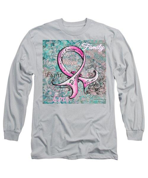 Beautiful Inspirational Elegant Pink Ribbon Design Art For Breast Cancer Awareness Long Sleeve T-Shirt