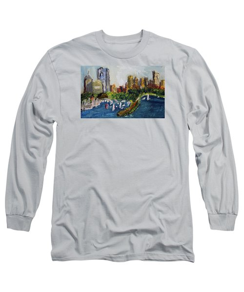 Boston Skyline Long Sleeve T-Shirt by Michael Helfen