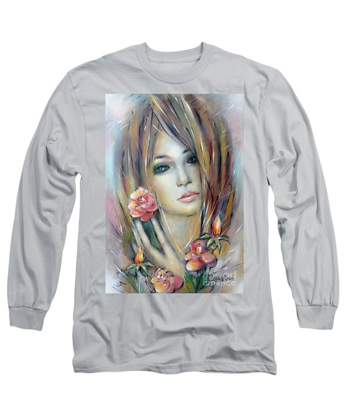 Doll With Roses 010111 Long Sleeve T-Shirt by Selena Boron