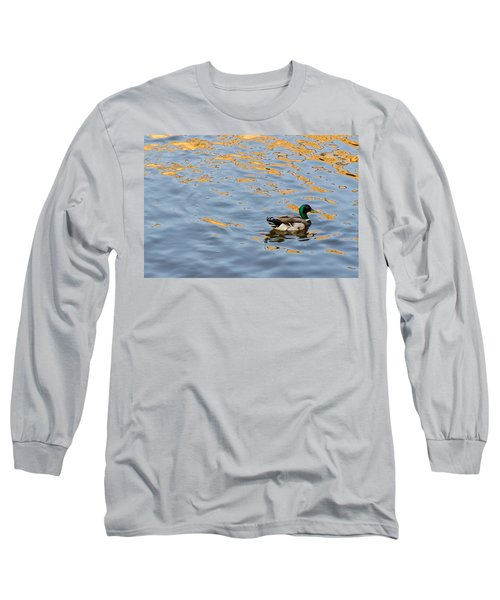 Golden Ripples Long Sleeve T-Shirt by Keith Armstrong