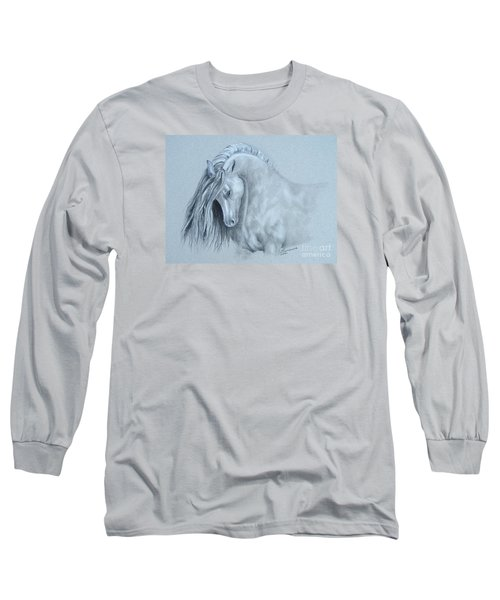 Grey Horse Long Sleeve T-Shirt by Laurianna Taylor