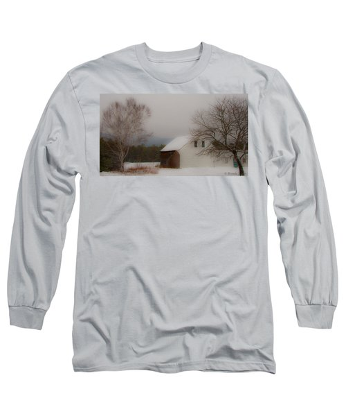 Long Sleeve T-Shirt featuring the photograph Melvin Village Barn In Winter by Brenda Jacobs