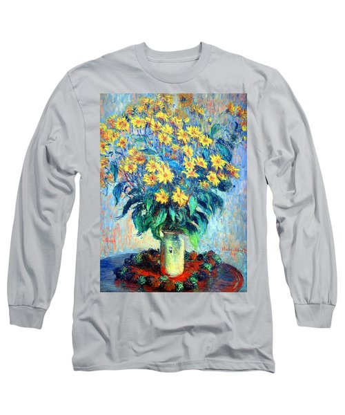 Long Sleeve T-Shirt featuring the photograph Monet's Jerusalem  Artichoke Flowers by Cora Wandel